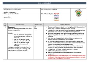 Classrooms Risk Assessment